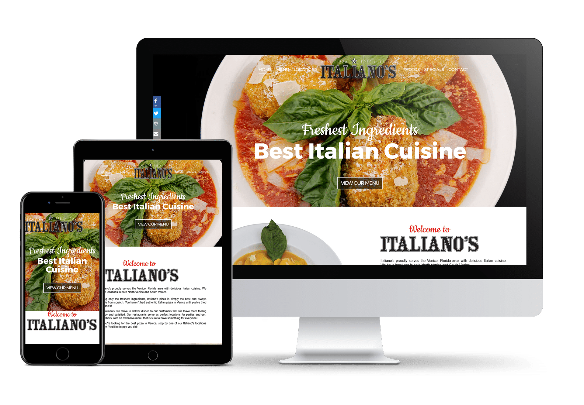 Venice Web Site Design – Italiano's Venice (941) 500-4530