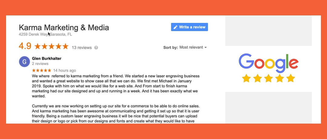 New Web Design Client Review at Google! (941) 500-4530