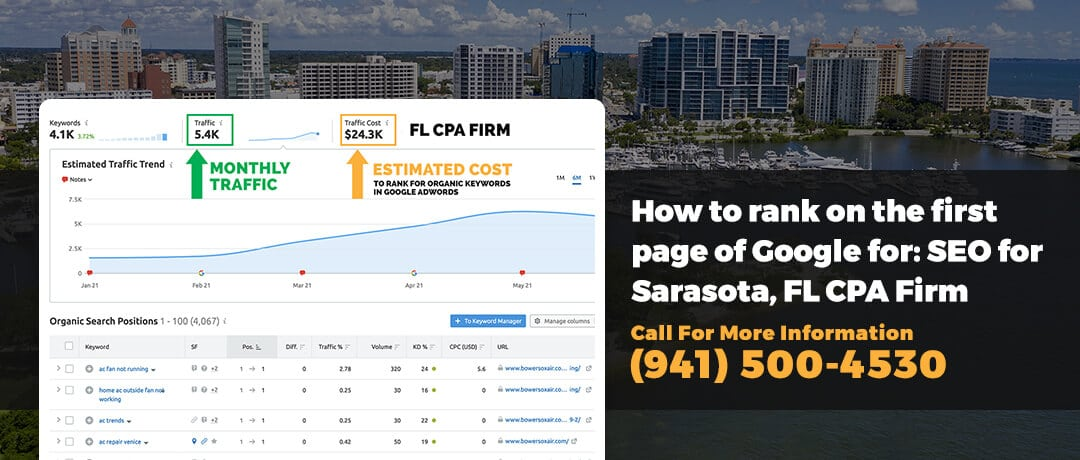 How to rank on the first page of Google for: SEO for Sarasota, FL CPA Firm